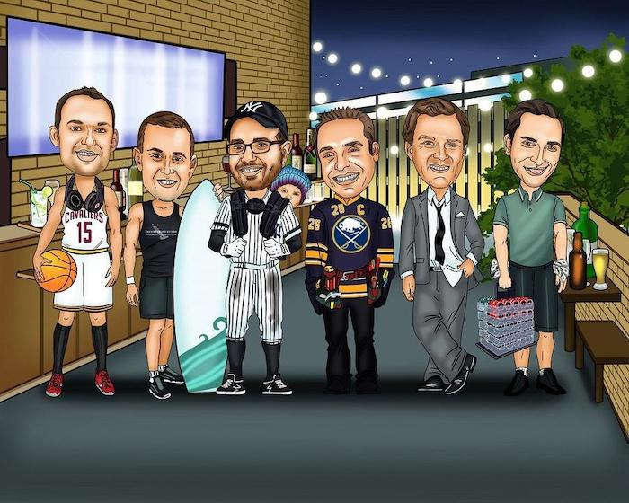 colored caricature, groomsmen gifts, six men, wearing different clothes, on a balcony