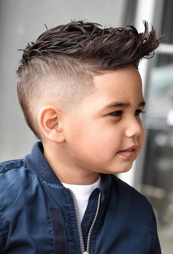 blue satin jacket, black hair, good haircuts for men, little boy