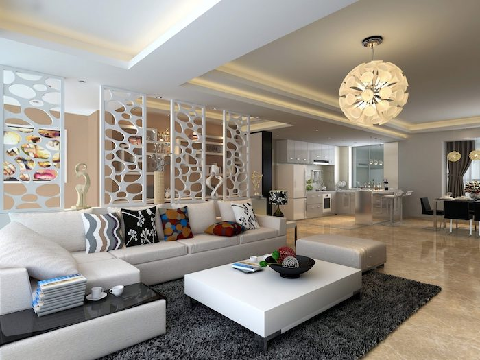 white panels, sliding room dividers, white corner sofa, black carpet, colourful throw pillows