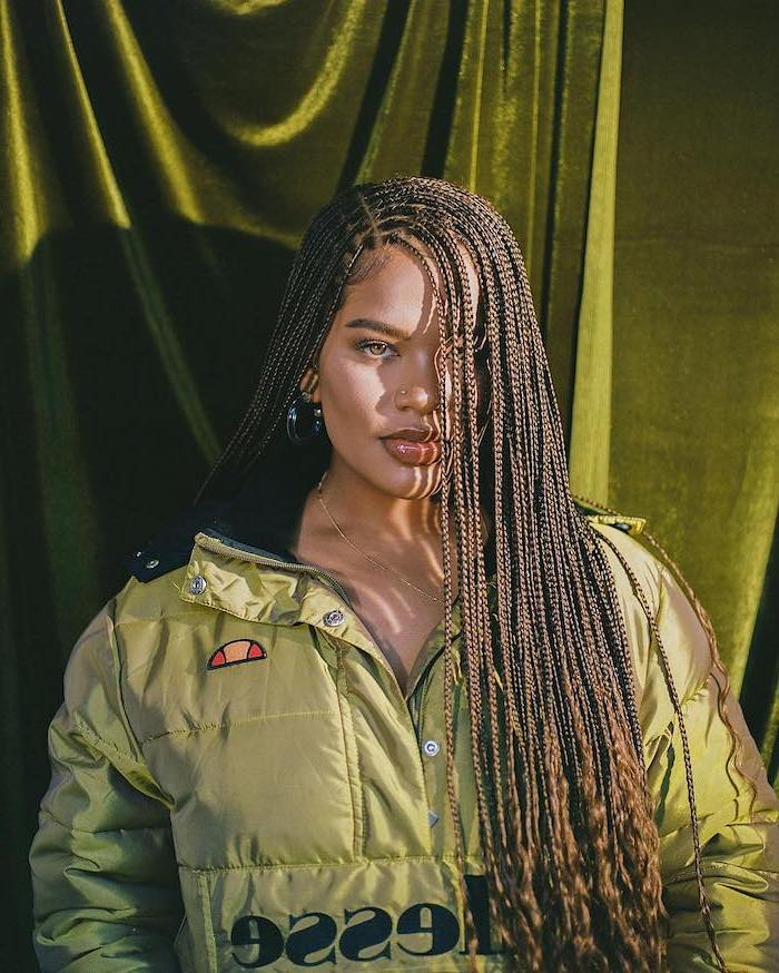olive green, puffer jacket, small braids, braids for short hair, olive green, velvet curtain