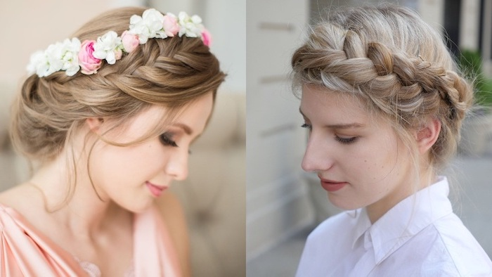 crown braids, flower crown, blonde hair, side by side photos, braids for short hair