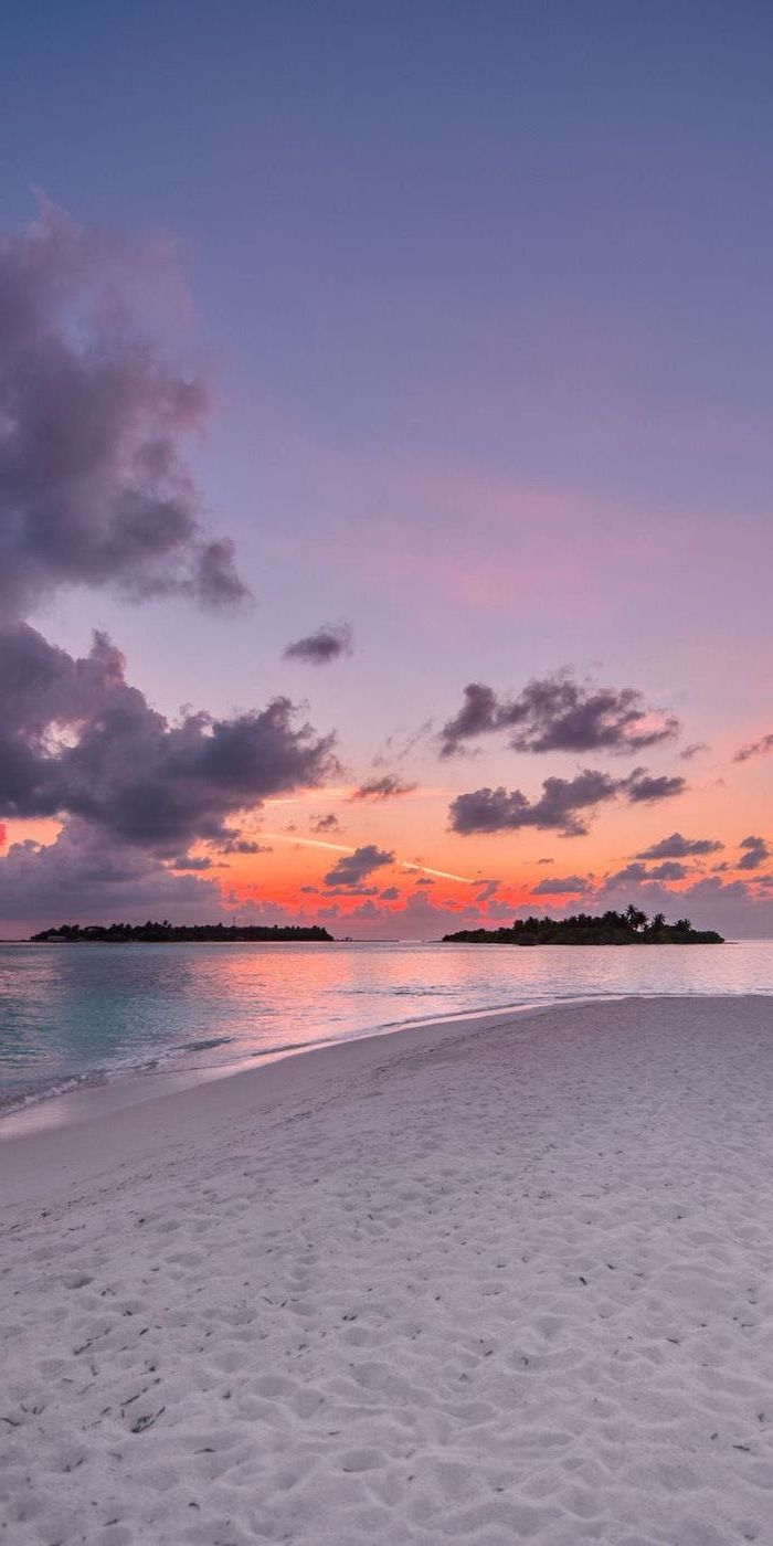 sunset sky, white beach sand, orange and purple sky, girly wallpapers