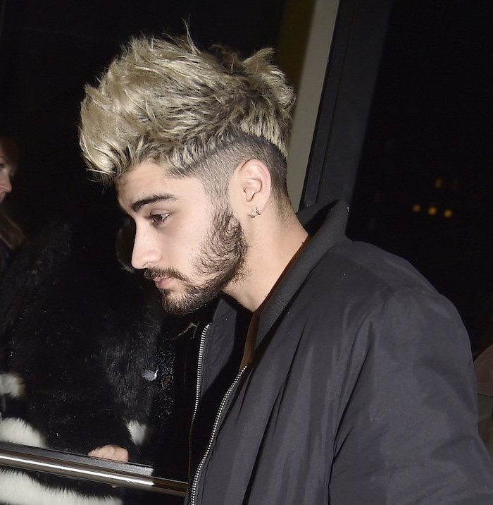 good haircuts for men, zayn malik, blonde hair, long top, black jacket