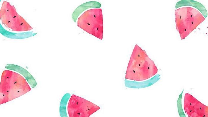 slices of watermelon, colored drawing, in a white background, cute wallpapers 2019