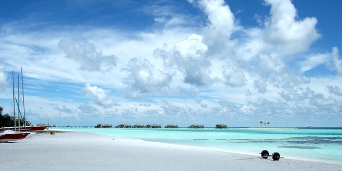 cool wallpapers, turquoise ocean water, blue sky, white clouds, white beach sand