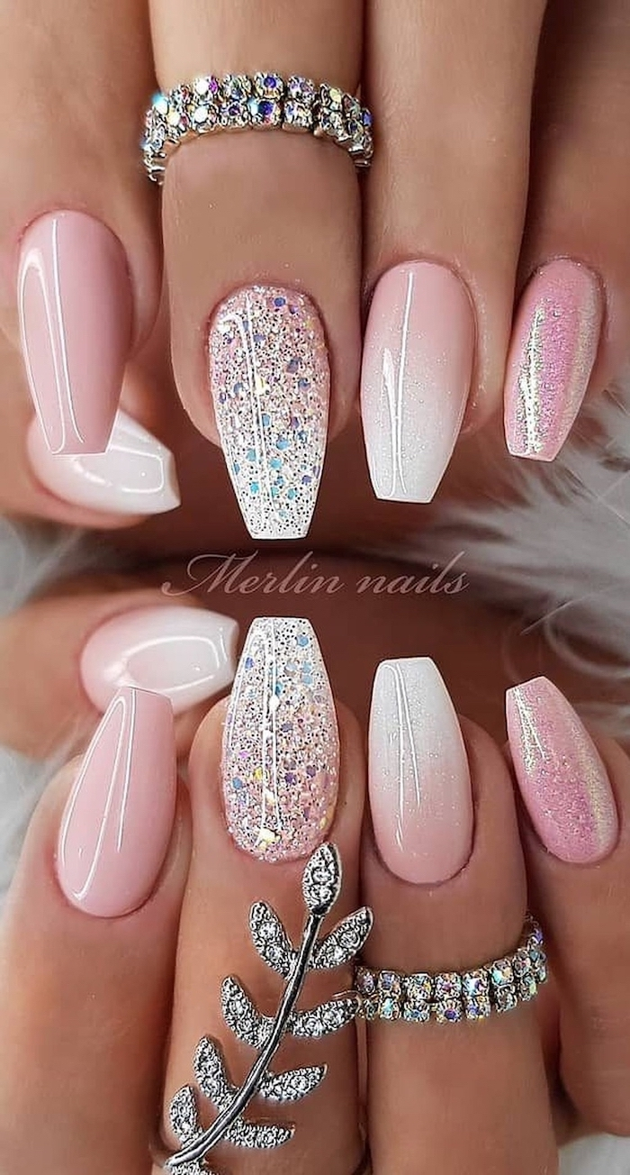 pink and white ombre, pink glitter, nail polish, cute summer nails, rings with rhinestones