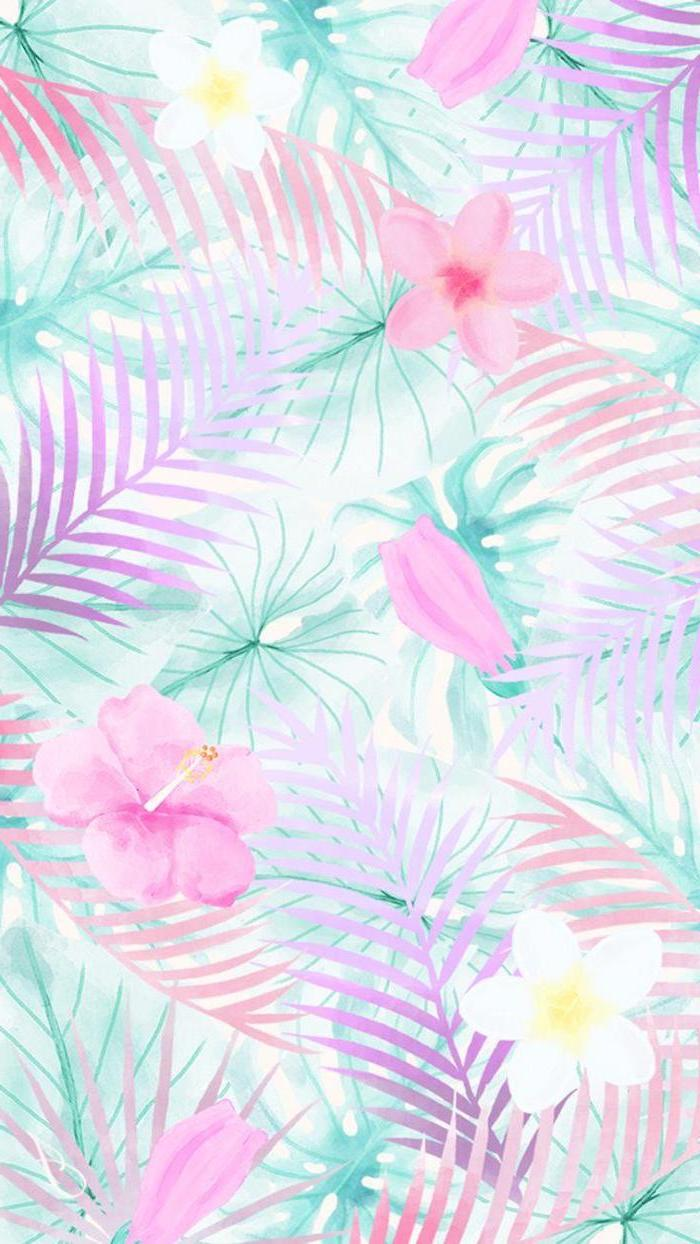 floral wallpaper, palm tree leaves, pink and white flowers, girly wallpapers
