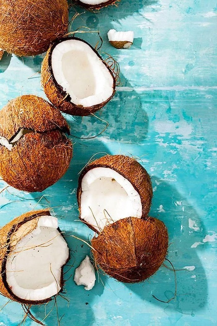 blue background, sliced coconuts, cute iphone wallpaper