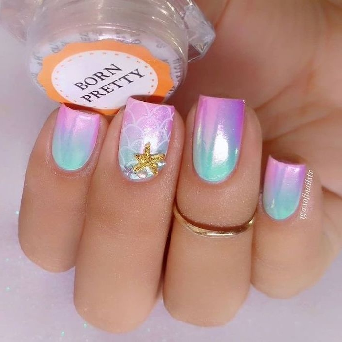 mermaid nails, manicure ideas, short nails, pink and blue ombre, chrome nail polish