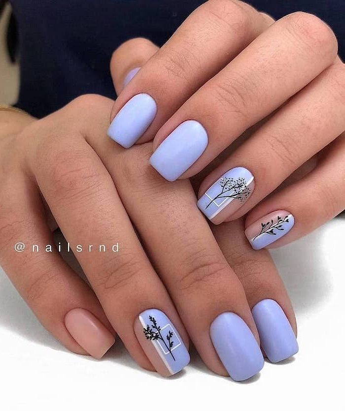 blue nail polish, black tree branches, spring nail designs, short nails, white background
