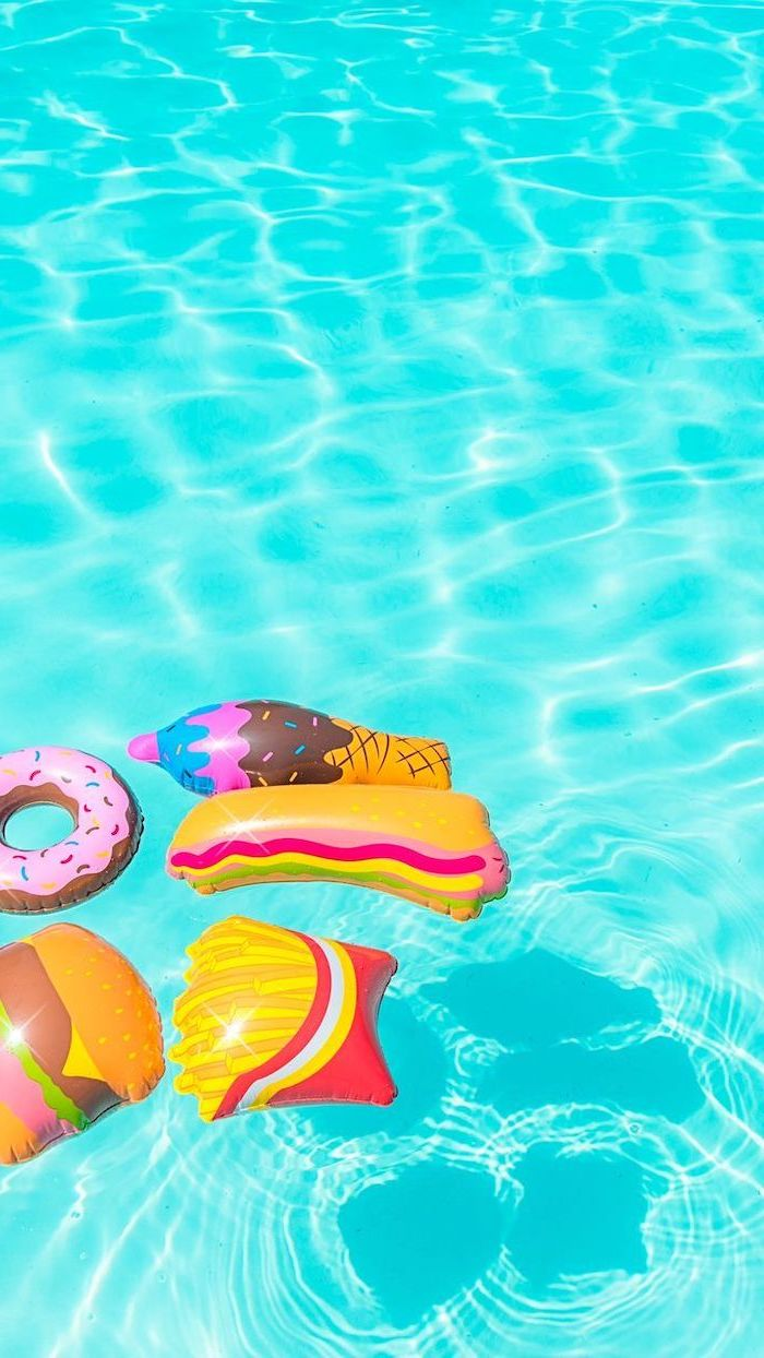 turquoise pool water, pool floats, ice cream, hot dog, french fries, donut and hamburger, cute iphone wallpaper