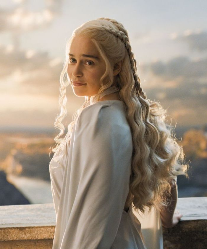 blonde hair, daenerys targaryen, khaleesi braids, game of thrones inspired, braided hairstyles for short hair