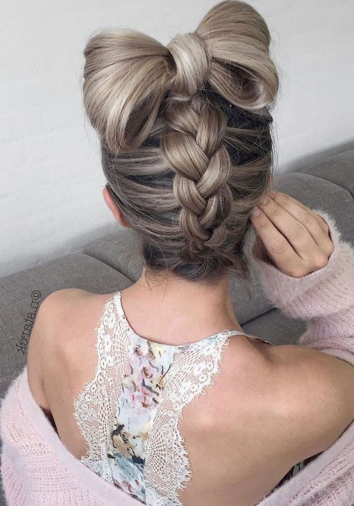 dark blonde hair, upside down braid, bow bun, braids for short hair, floral top, pink cardigan
