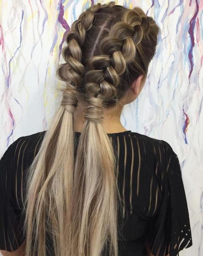 dark blonde hair, with highlights, two braids, two ponytails, black top, braids for short hair