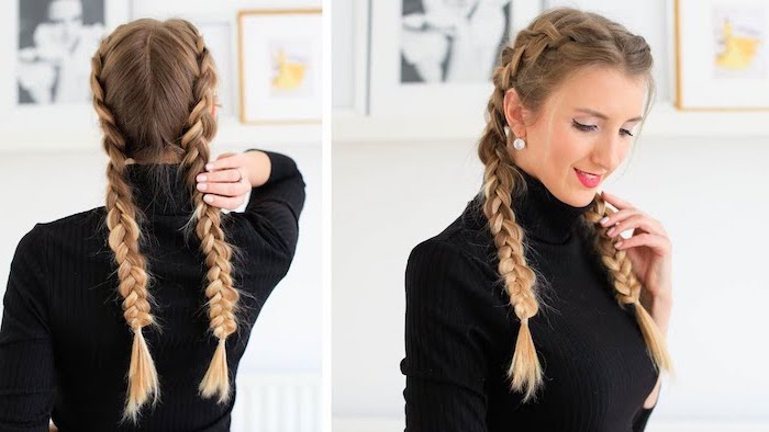 two side braids, dark blonde hair, black polo sweater, braids for short hair