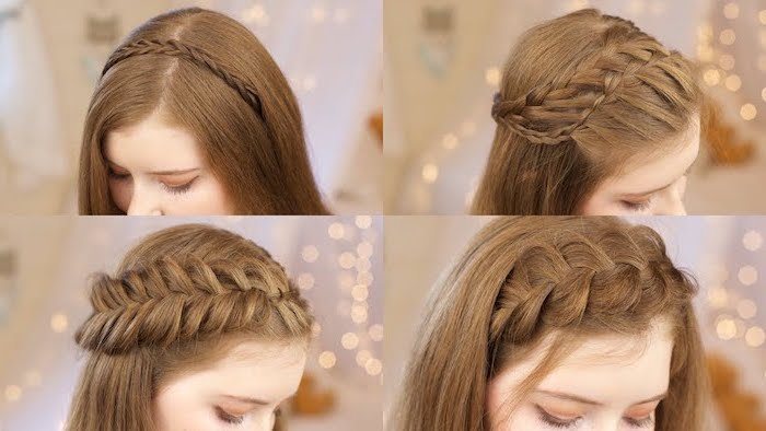 how to braid your own hair, dark blonde hair, four different styles, headband braids
