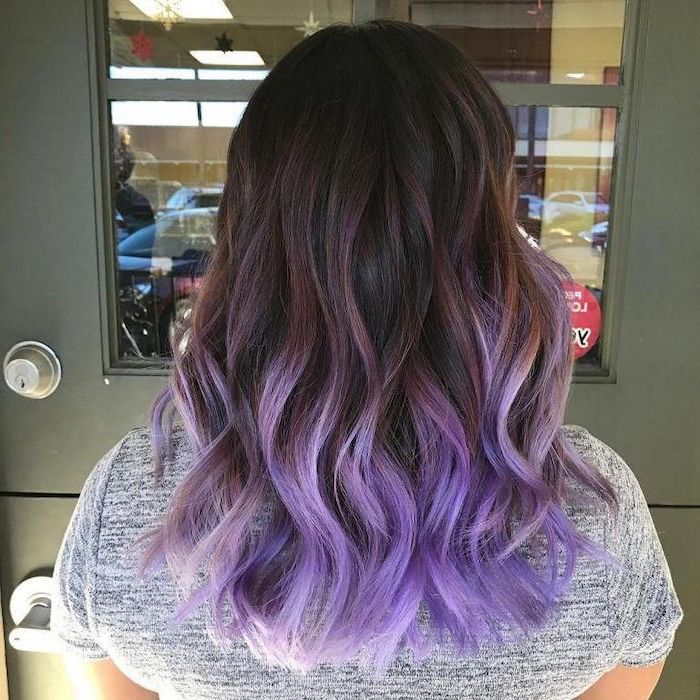 brown to light purple, medium length, wavy hair, grey shirt, caramel ombre