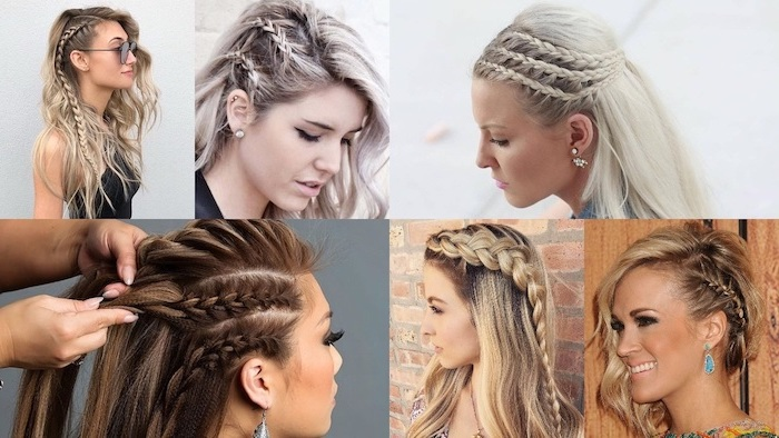 different hairstyles, photo collage, how to braid your own hair, blondes and brunettes