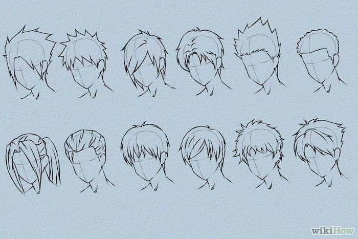 different hairstyles, step by step tutorial, how to draw anime girl, black and white sketch