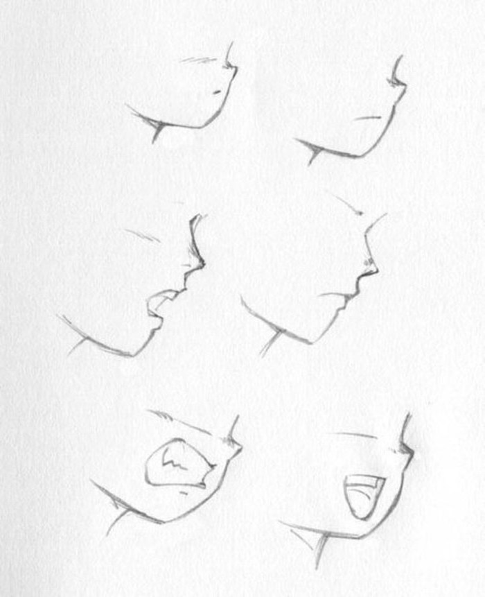 different lip shapes, black and white, pencil sketch, how to draw anime girl