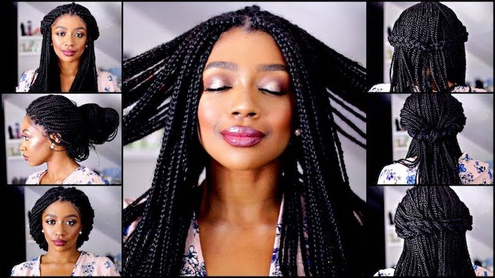 black hair, photo collage, different hairstyles, how to braid your own hair, braided hair