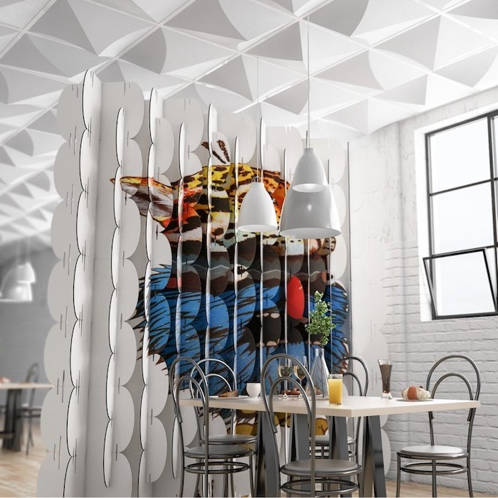 wooden room dividers, intricate 3d design, grey metal chairs, wooden table, white brick wall