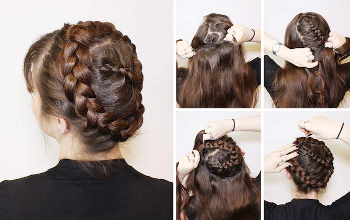 step by step, diy tutorial, how to braid your own hair, brown hair, black blouse