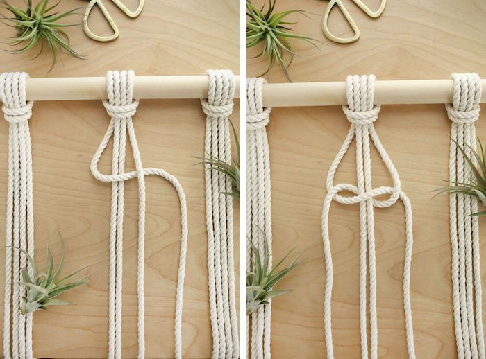 white rope, wooden pole, diy room divider, step by step, diy tutorial, with macrame