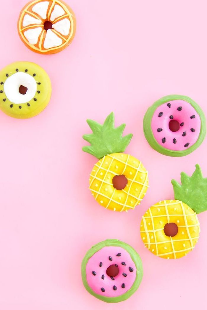 decorated donuts, orange and kiwi, watermelon and pineapple, cute iphone wallpaper