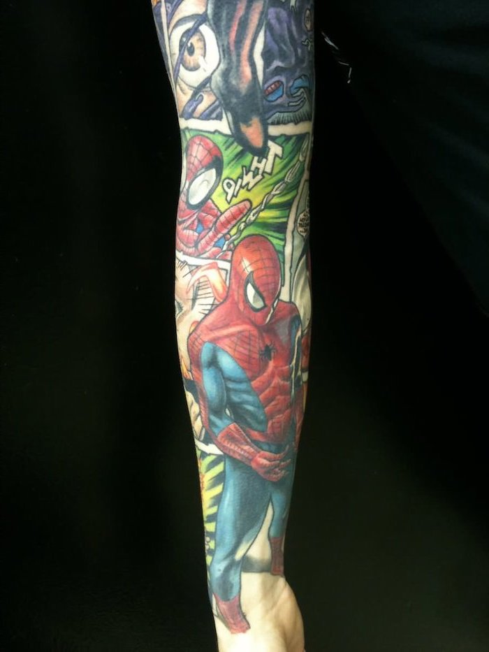 spider man, comic book inspired, arm tattoo ideas, black background, coloured tattoo