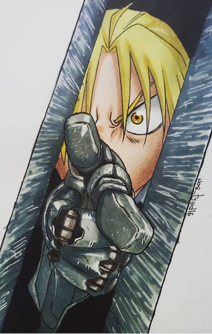 colourful drawing, blonde hair, anime boy drawing