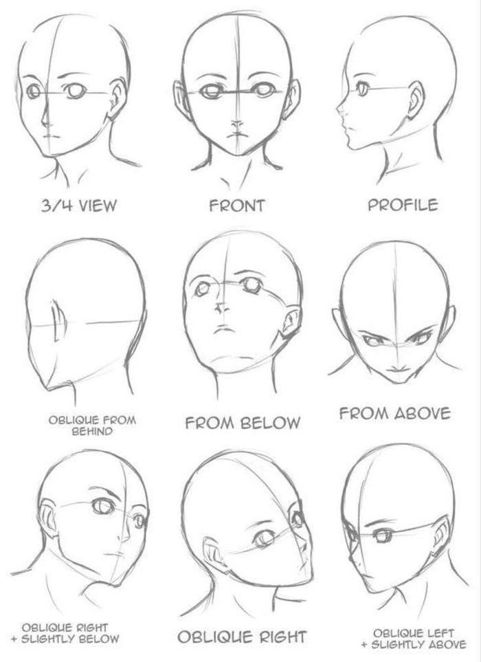 face drawing, from different angles, anime girl drawing, black and white, pencil sketch