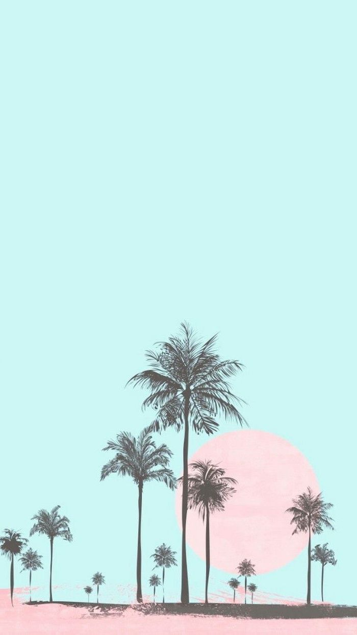 blue background, black palm trees, cute wallpapers for girls, pink sun