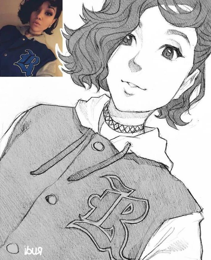 girl drawing, drawn from a photo, anime boy drawing, pencil sketch, black and white