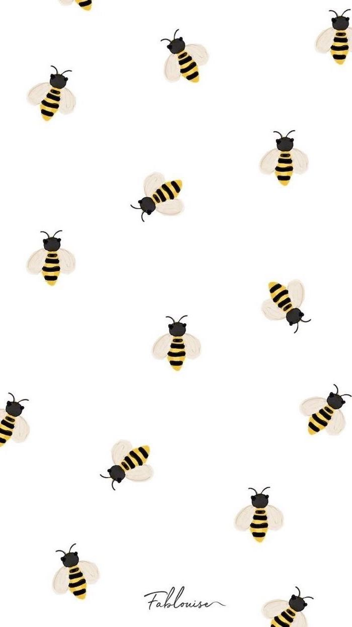 drawing of bees, on white background, cute wallpapers for girls