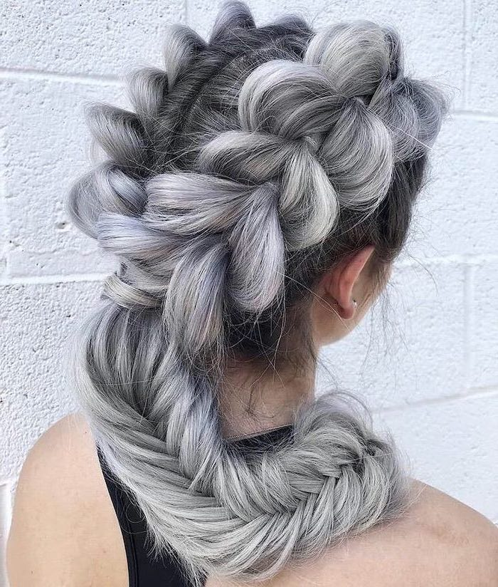 triangle box braids, ash grey hair, two braids, fishtail braid, white brick wall