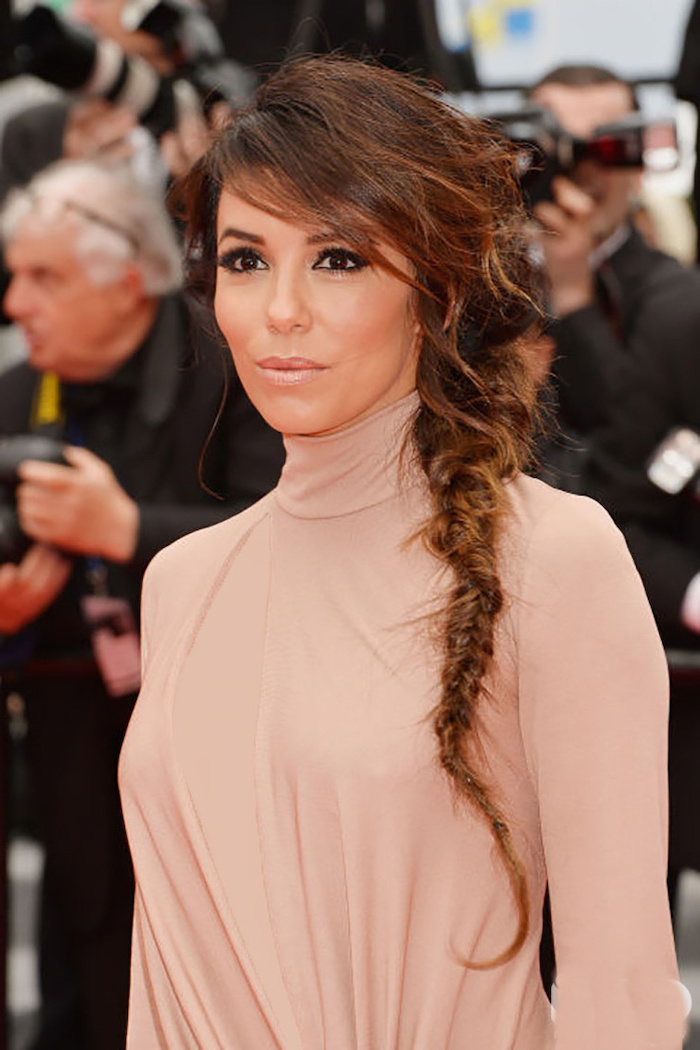 eva longoria, brown hair, loose braid, pink polo dress, triangle box braids