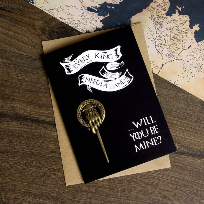 best groomsmen gifts, every king needs a hand, game of thrones inspired card, wooden background