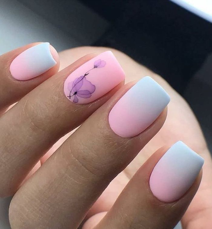 cute nail designs, purple watercolour flowers, pink and blue ombre, nail polish