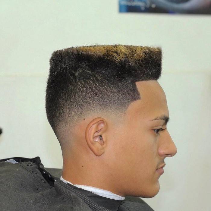 black hair, blonde ends, flat top, young men haircuts, white background