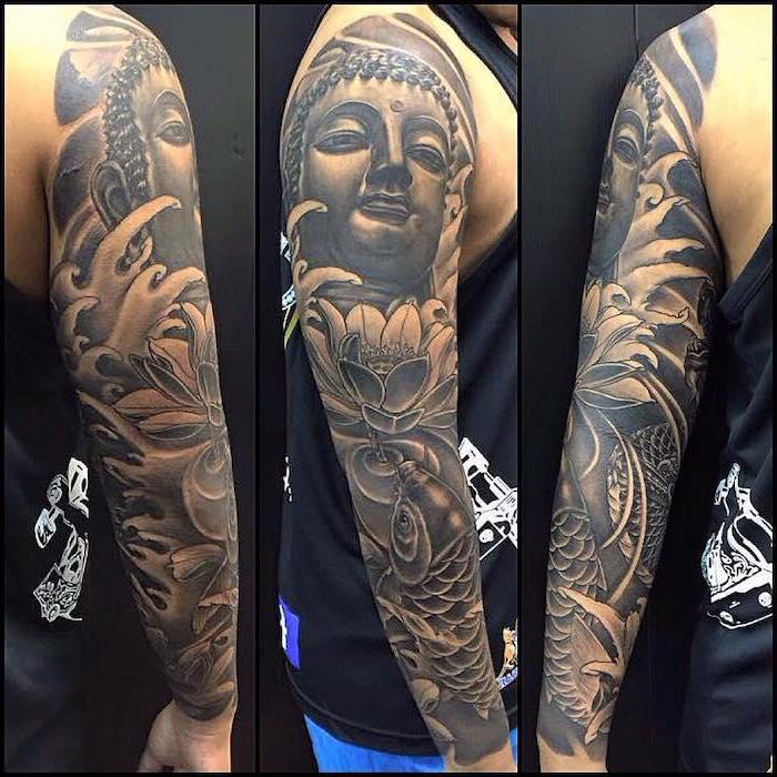 best half sleeve tattoos, buddha and flower, koi fish, black top