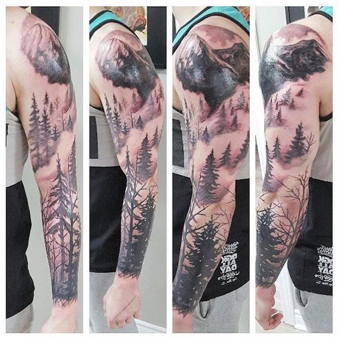 mountain landscape, best half sleeve tattoos, photos taken from different angles