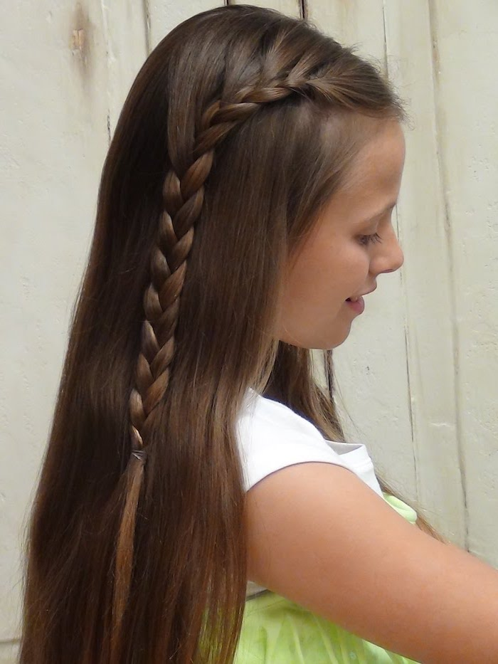 little girl, brown hair, waterfall braid, white background, triangle box braids