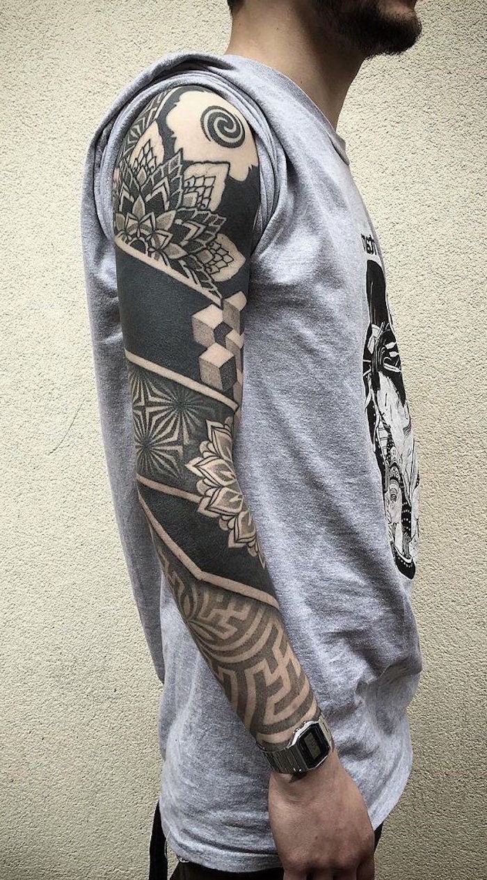 grey t shirt, geometrical mandala, half sleeve tattoos for women, white background