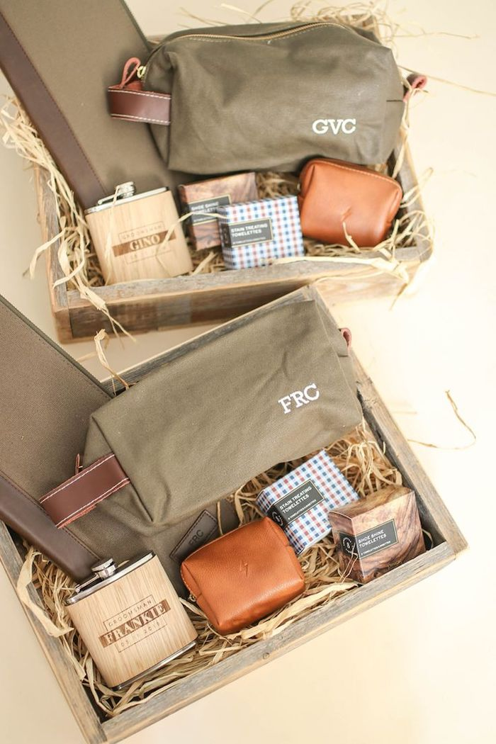 personalised groomsmen gifts, wooden boxes, with flasks, soaps and travelling bags, with initials