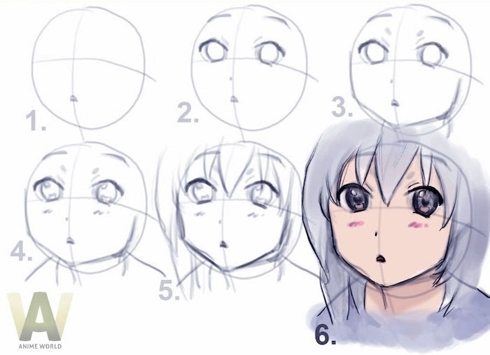 how to draw anime girl, step by step, drawing tutorial, white background