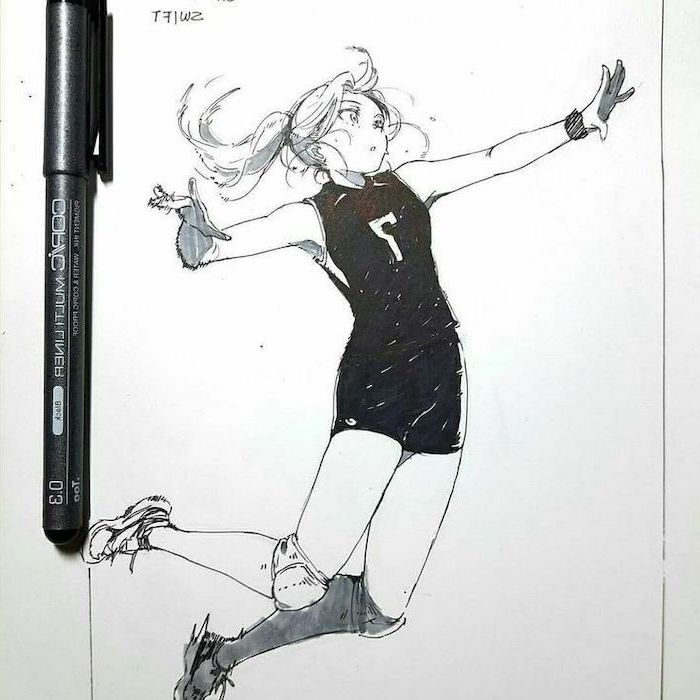 anime drawing ideas, girl playing volleyball, black and white, marker sketch