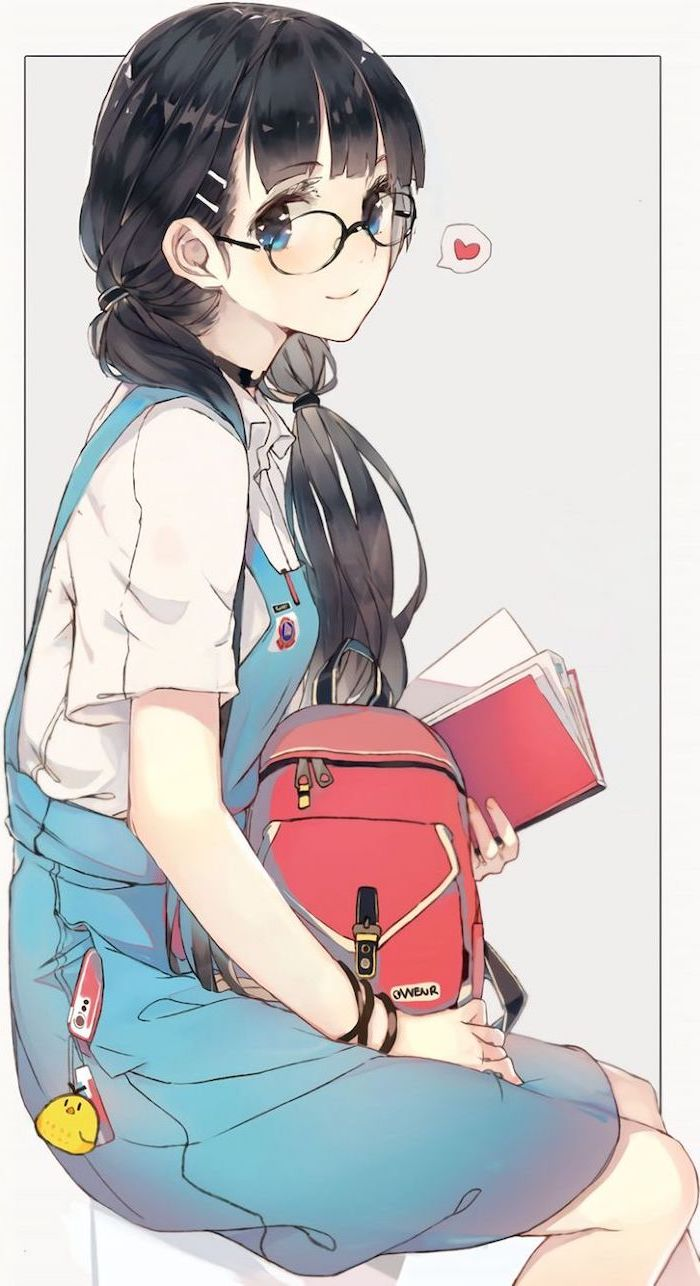 girl sitting on a chair, blue onesie, red backpack, anime drawing ideas, black hair, colourful drawing