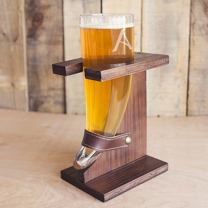 viking horn, beer glass, wooden stand, personalised groomsmen gifts, with an initial