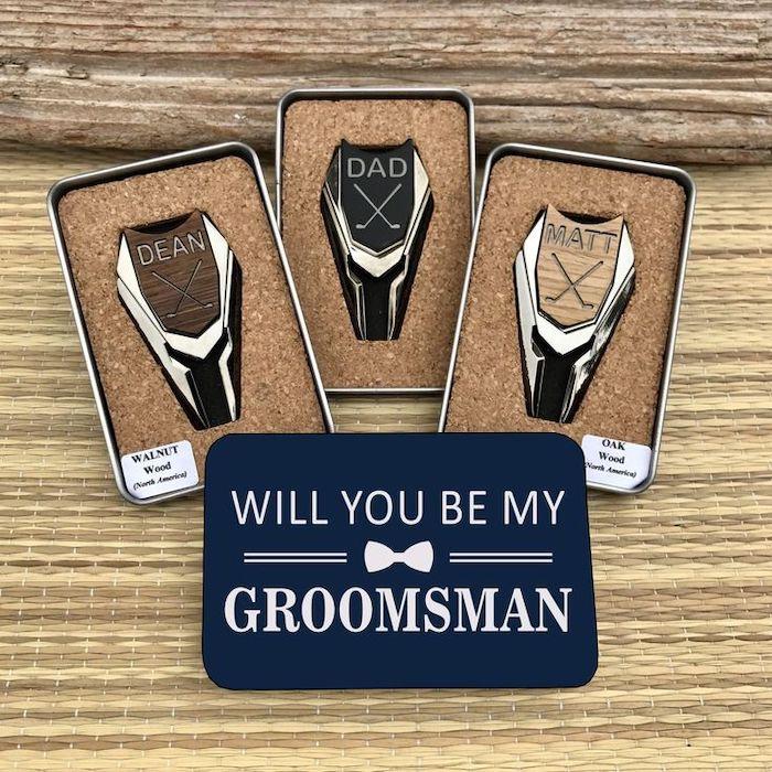 golf gear, personalised with names, personalised groomsmen gifts, in metal boxes
